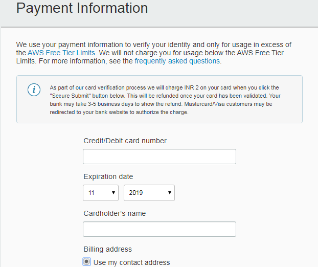 Payment Information Page AWS