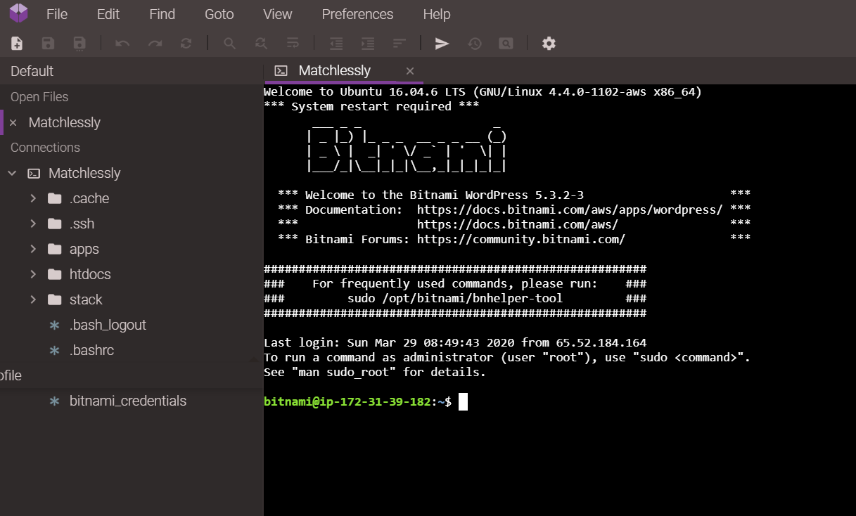 Terminal Opened Codeanywhere