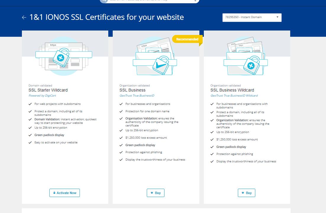 IONOS SSL Plans