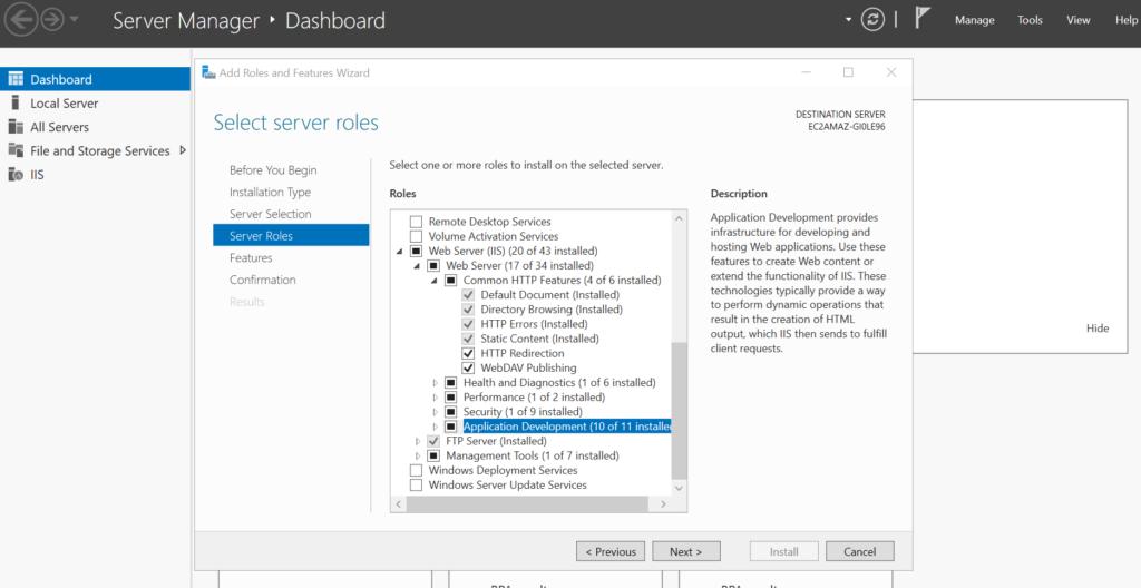 IIS Web Server Features
